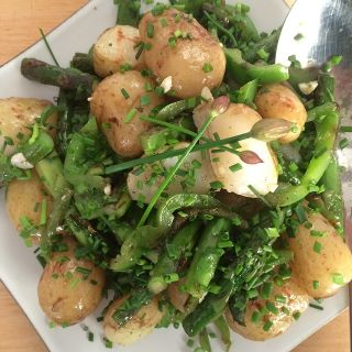 Jersey royals, asparagus, and green pepper, topped with chives from the garden.