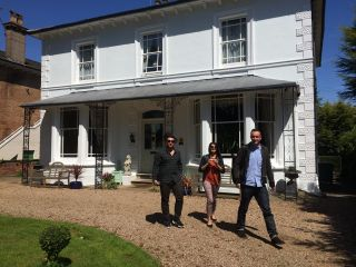 Arriving at our lodgings in Royal Leamington Spa.