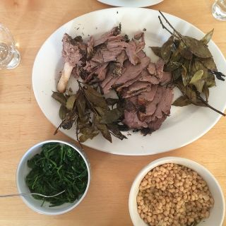 Lamb, beans, and spinach.