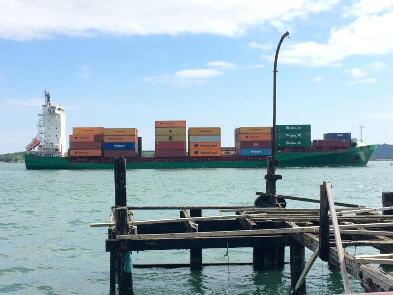 Shipping containers.