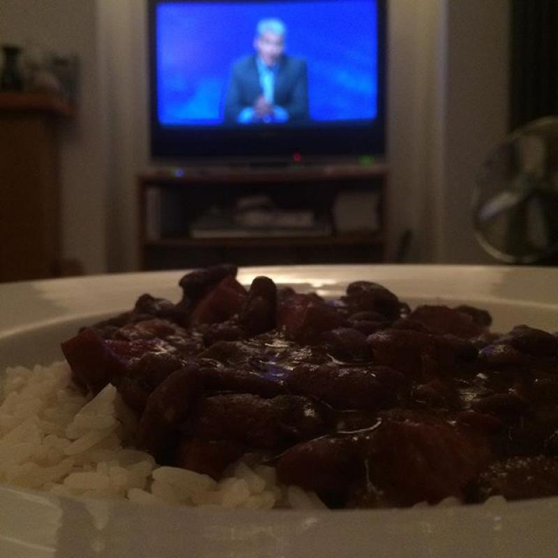 Monday: red beans and rice, with University Challenge.