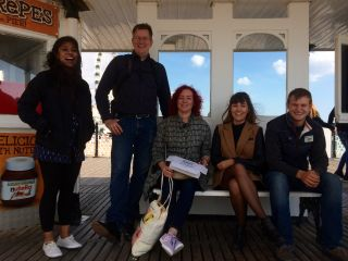 The @ClearleftIntern gang welcome @ChrisNoessel to Brighton with an ill-advised trip to the pier for fish'n'chips.