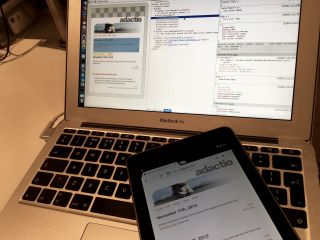 Using developer tools in Chrome to inspect elements on a web page open on an Android device.