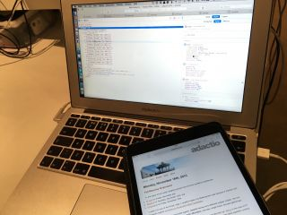 Using web inspector in Safari to inspect elements on a web page open on an iOS device.